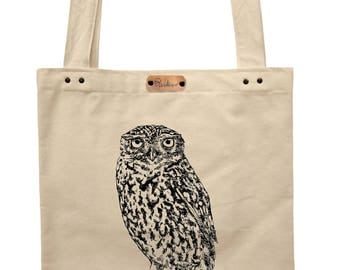 Little owl - hand printed cotton tote bag