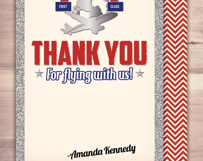 Flying, thank you card, flight pass, invitation, birthday, travel birthday party travel party, flying party, airplane, vintage