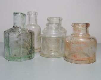 Antique Glass Ink Bottle Collection/Set of Ink Bottles/Clear Glass Bottle/Antique Bottles/Glass Inkwell/Glass Ink Pot/Gift for the Home