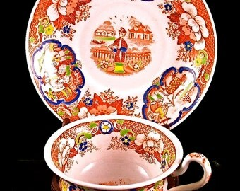 HIlditch  & Son Antique 19th C English Cup and Saucer, Chinoiserie Pattern is C-Scroll Vignette , Joy Moos Antiques