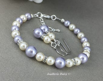 Purple Bracelet Lavender Pearl Jewelry Gift for Her Swarovski Bracelet and Earrings Bridesmaids Maid of Honor Mother's Day Gift for Moms