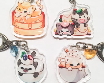 BREAKFAST KITTENS - Acrylic Charm w/ accessory