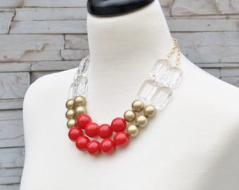Red Chunky Round Bead Necklace - Bold Looks Statement Necklace - Vintage Style Bib Necklace - Red Bridal Jewelry - Gift Idea for Moms -