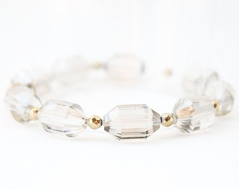 Smokey Crystal Bracelet - Valentines Gift For Her - Gemstone Bangle - Crystal Jewelry - Gold Bracelet - Hematite Bracelet - Crystal Bangle