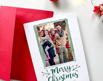 Christmas/Holiday Card with Photo and watercolor accents - 5x7 - Merry Christmas - Printable and Personalized