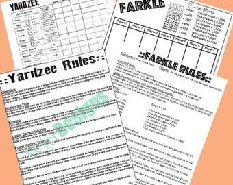 Set of 4 - 8.5x11 Instant Download - PDF - Yardzee - Farkle - Yardzee rules - Farkle rules
