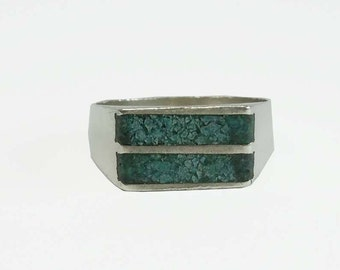 Vintage Sterling Silver Turquoise Statement Ring Size 8.5
