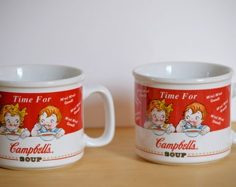 Campbells Collectible Ceramic Soup Mugs, Lot of Two, 1998 Produced for Houston Harvest