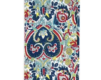 HSQ1142 - Turquoise Paisley Print Hand Rolled Cotton Pocket Square, Hankie, Handkerchief