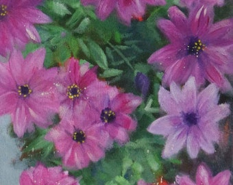 Original small oil painting of pink|/purple flowers