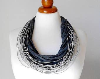 Gray jewelry gray necklace gray statement necklace gray multi strand necklace gray silver necklace dark gray jewelry dark gray necklace