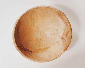 Vintage Large Wood Grain Salad Bowl, 1970s Natural Wood Salad Bowl, Wooden Serving Bowl