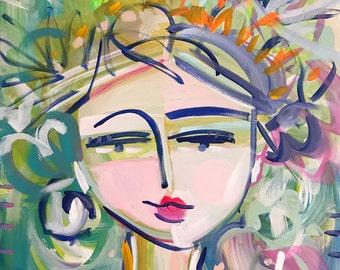 Abstract Portrait Painting, orig. canvas, 24x30, woman portrait, Palmetto 2, Original Canvas
