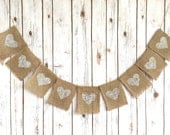 Burlap White Hearts Banner / Rustic Wedding Sign / Decoration