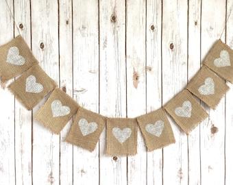 Burlap White Hearts Banner / Rustic Wedding Sign / Decoration