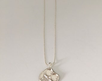 Small owl, pendant necklace, fine silver with sterling silver chain