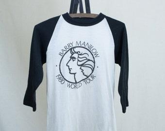 Vintage Small Barry Manilow 80's Tour T-Shirt Raglan