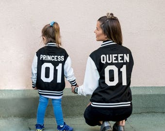 Mommy and Me Outfits, Varsity Jackets, Queen 01 Princess 01 Jacket, Mother Daughter Jackets, Mother Daughter Outfits, UNISEX