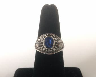 Vintage 1977 High School Graduation Ring South High By John Roberts 10k White Gold With Blue Stone