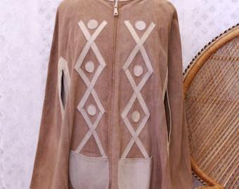 Vintage beige Suede cape poncho 60s 70s hippy  coat jacket S M