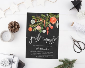 Holiday Party Invitation, Christmas, Winter, Office Party, Watercolor Invite (812)