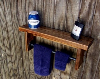 Rustic Industrial Shelf With Towel Bar – Pipe and Wood Bathroom Shelves–Reclaimed Wood Shelving With Towel Bar-Bathroom Chunky Wall Shelves