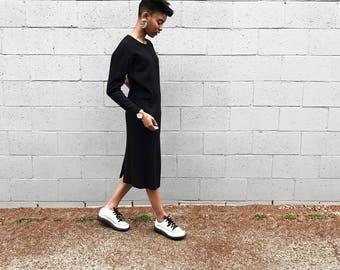 PHILIPPE ADEC Black Midi Dress with Statement Sleeves / Minimalist Dress / Simple Dress / Classic Black Dress / Long Sleeved Batwing Dress