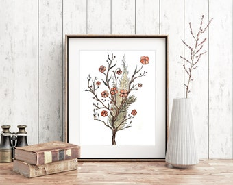 """Watercolor Flowers Art Printable  ~ """"Wildfleur"""" ~ Flowers Art Print, Floral Poster, Gift for Her, Nursery Decor, 8x10 Wall Art, Home Decor"""