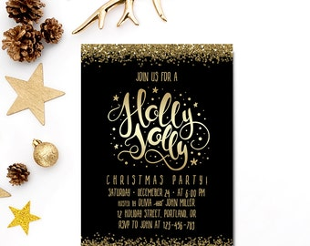 Holly Jolly Christmas Party Invitation Black And Gold Glitter Printable Christmas Invitation Holiday Party Invite Winter Invitation 5x7