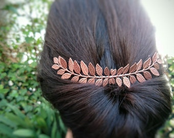 FLASH SALE Rose Gold Laurel Leaf Hair Comb Rose Gold Hair Comb Rose Gold Bridal Hair Piece Grecian Hair Rose Gold Greek Hair