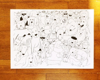 Art Print Black and White Dog