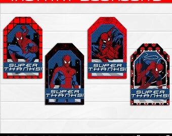 50% OFF SALE Spiderman Thank you or Favor tags Superheroes, Superhero instant download, pdf jpg.