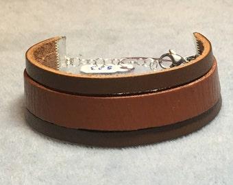 Three Strand Medium and Regular Brown Leather Essential Oil Diffuser Bracelet