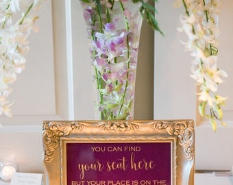 Wedding Place Card Sign, Find Your Seat Here Wedding Foil Sign, Place on Dance Floor Print, Seating Print, Escort Card, Foil Print, Party