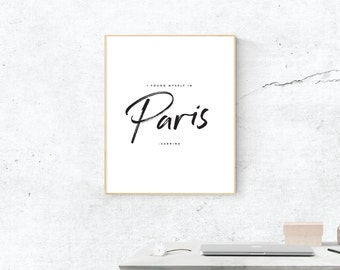 I Found Myself in Paris, Digital Print, Sabrina Movie Art, French Art, Digital Download, Paris Wall Art, Wall Prints, Printable Art