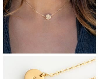 Mini Disc Choker, Simple Choker Necklace, Personalized Disk in Sterling Silver, 14K Gold Filled,  Gift for Wife, LEILAjewelryshop, N267