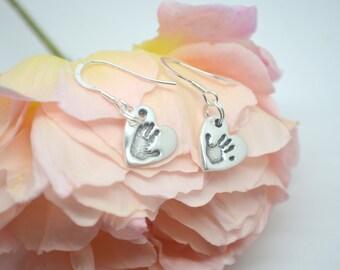 Hand/Footprint Earrings - Keepsake Jewellery - Print Keepsake - Personalised Earrings - Heart Earrings - Teardrop Earrings - Custom Earrings