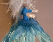 Flower Fairy Miniature Doll Ooak Christmas Tree Faires Handmade Craft Doll Angel Faery  Little Miss Ice Queen 4 inches Waldorf  Let It Go
