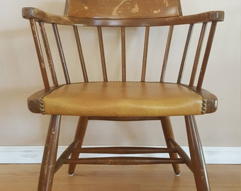 Vintage Wood Chair, Antique Wooden Chair, Vintage Decor, Chair, Vintage Children's Chair,Leather Vintage Chair,Home living,Vintage Furniture