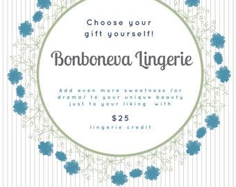 Bonboneva Lingerie Gift Card Voucher: Last Minute Gift for Her to Her Liking - Lingerie Gift Card Printable Instant Download