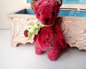 Alice Cute Artist Teddy bear OOAK Collectable plush pocket art toy