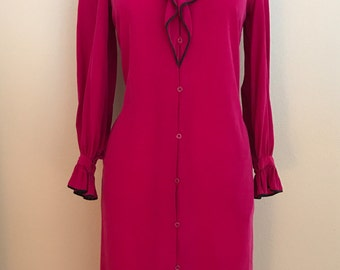 Vintage Francesca for Damon Fuchsia Dress w/ Neck and Cuff Ruffle Detail 100% Silk Crepe- Small