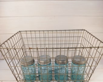 Vintage Metal Wire Basket, Farmhouse Chic, Fixer Upper, Rustic, Industrial Basket