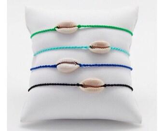 Ankle bracelet - minimalist Bracelet - seashell Bracelet - Bracelet man - child Bracelet shell cowrie woven hand - Lily & Koh