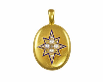 Victorian gold star pendant locket with pearls, diamonds and blue enamel, circa 1890.