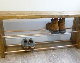 Industrial Copper Pipe Shoe Bench / Rack from Reclaimed Wood - Shoe Storage