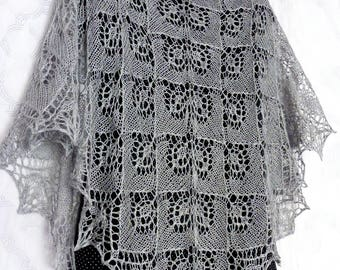 Gray Silk Lace Shawl. Made to Order! Knitted Shawl. Openwork Lace Wrap. Knit Lace Scarf. Silk Shawl. Hand Knitting