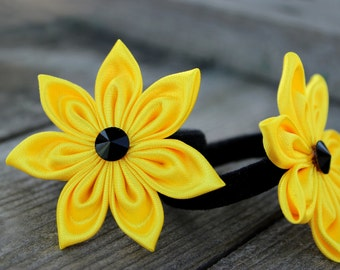 2 hair flowers Kanzashi ponytail holder Black yellow flower hair accessory flower girl gift ideas Flower accessories Hair bows for girl gift