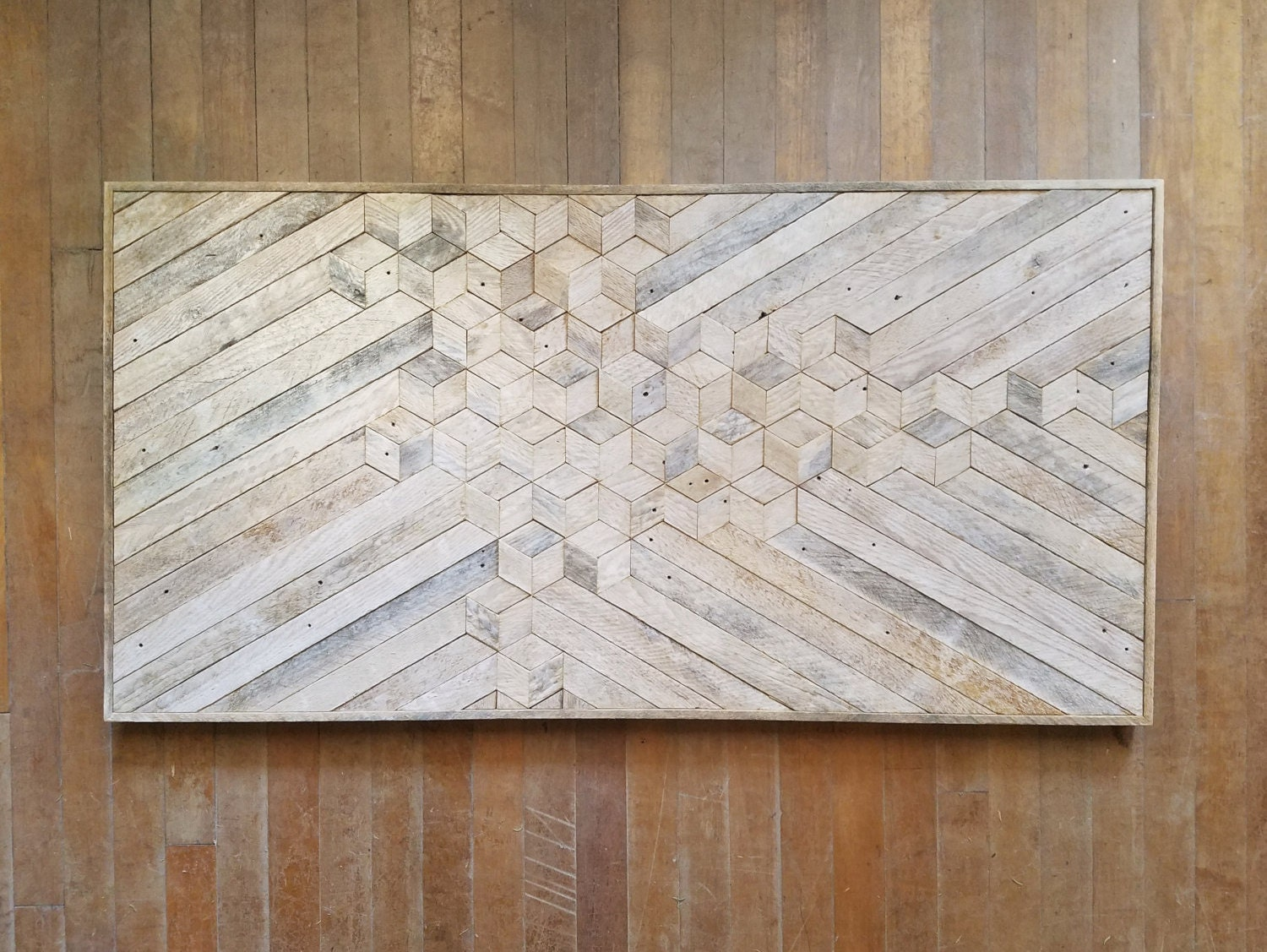 Reclaimed Wood Wall Art | Wood Decor | Reclaimed Wood | Wood Art | Rustic  Geometric| Wood Decor | Handmade | Minimalism | Cube | Monochrome
