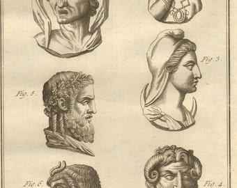 1804 Rare Antique Greek Mythology Print Engraving Roman Gods Typhon Jupiter Laid Paper Encyclopédie Méthodique Recueil D'Antiquites French